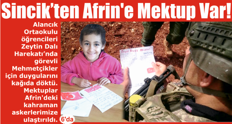 Sincik'ten Afrin'e mektup var!